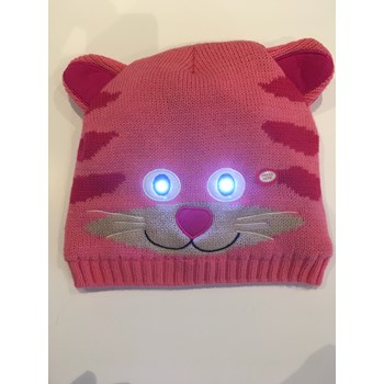 Kids Bright Eyes Animal Hats with strong LED lights in the eyes . Rusty Raccoon