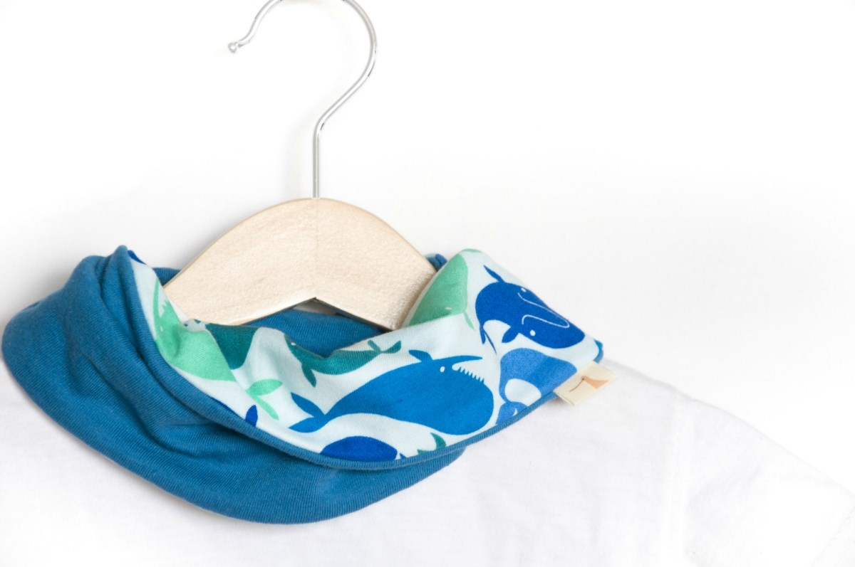 Stylish drooler bib | Infinity scarf | Dribble bib | All cotton | Baby Kids | Whales and ocean blue