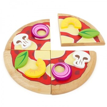 Wooden Play Pizza with wheel and toppings