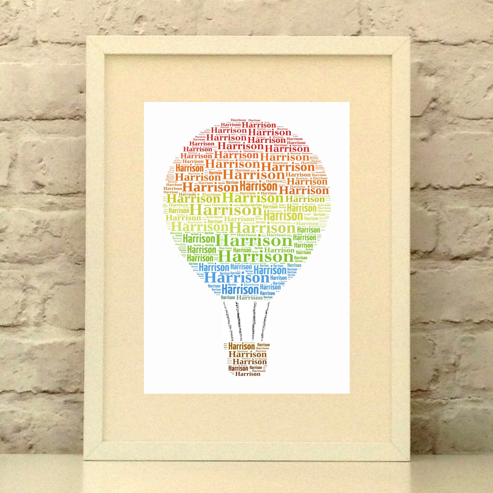 Rainbow Hot Air Balloon - Personalised Print - New Baby - Christening - Nursery Decor - Birthday