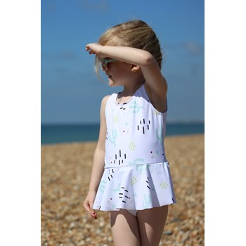 Cactus Peplum Print Girls Swimsuit - Modern Scandinavian design