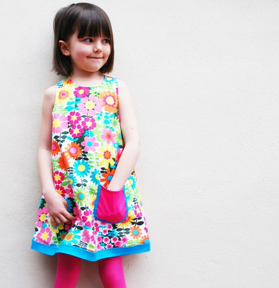 Girls 60's flower dress