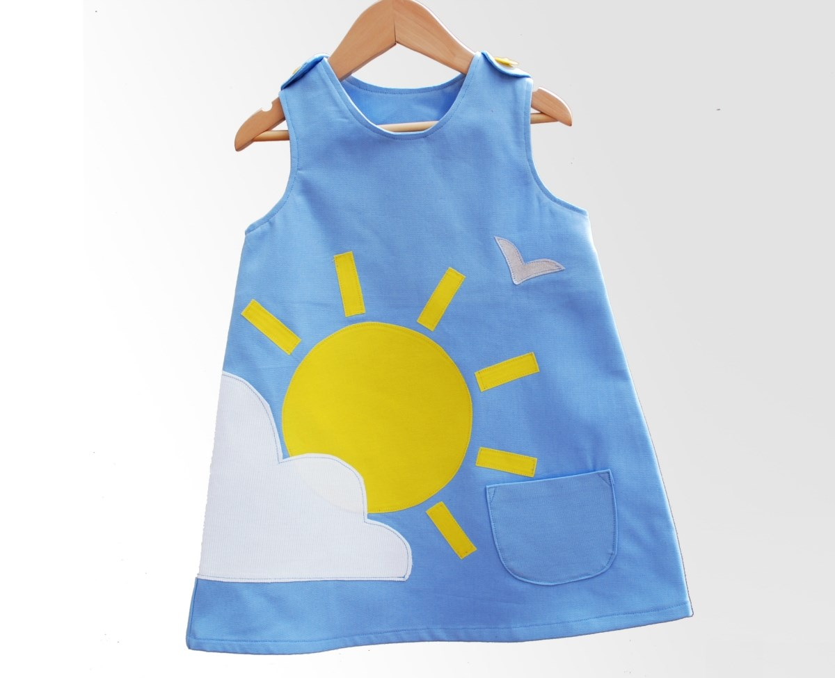 Girls sunshine and cloud summer dress