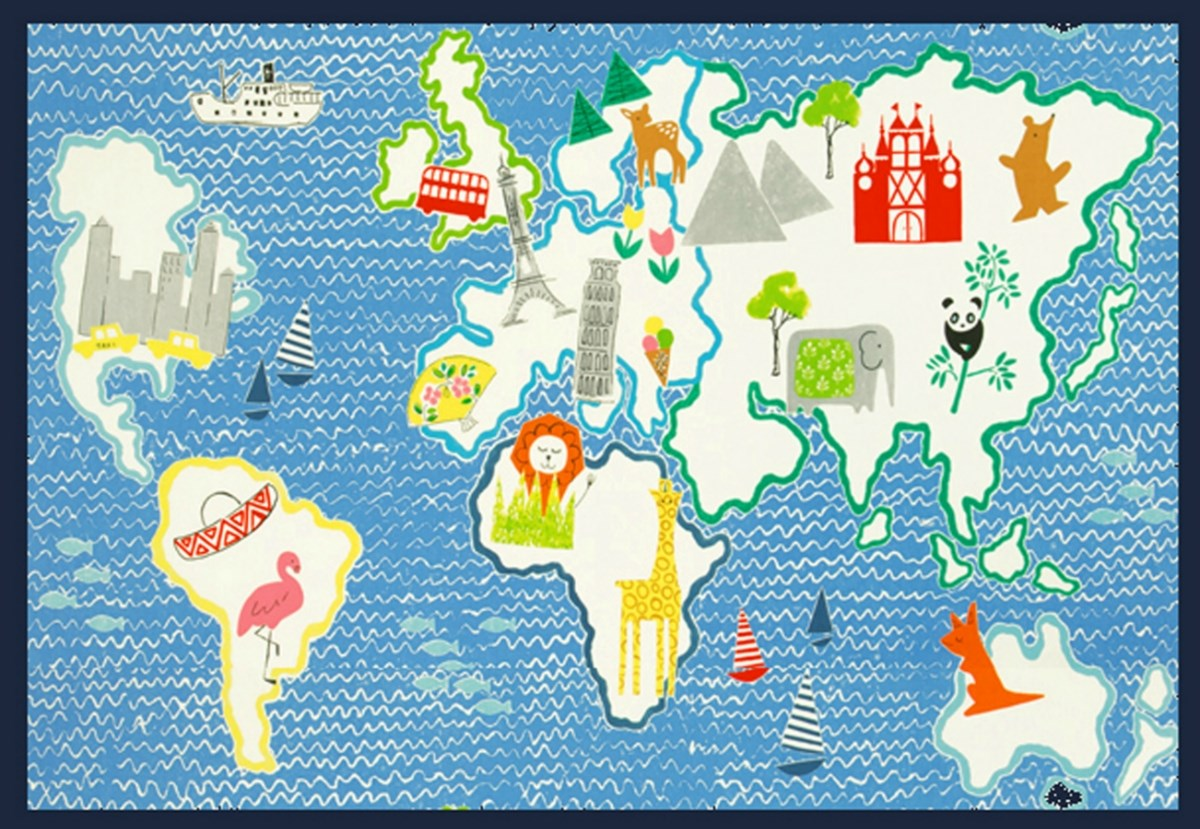 world map play mat picnic blanket
