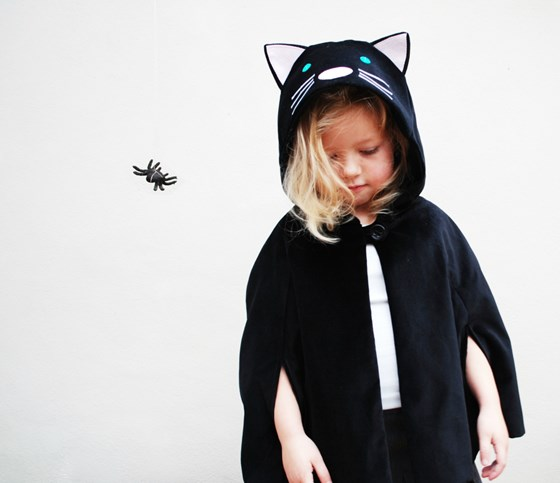 Halloween black cat dress up cape