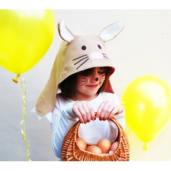 Easter Bunny kids dress up hat in cotton with cute bunny ears and claws