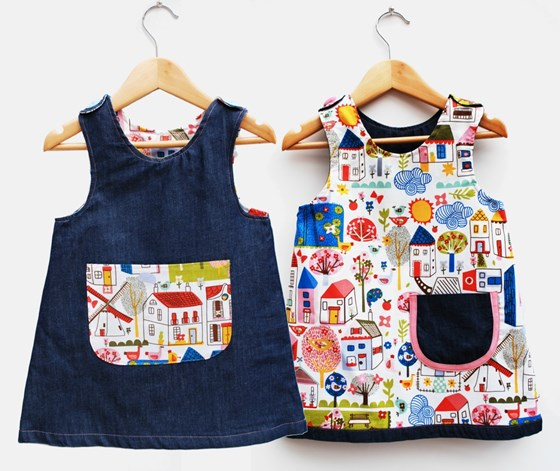 Girls reversible A Line toddler dress with village print