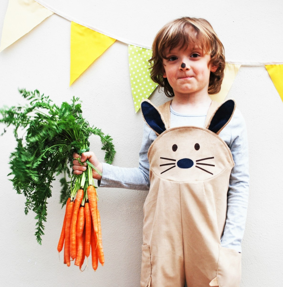 Bunny Rabbit dungaree overalls.