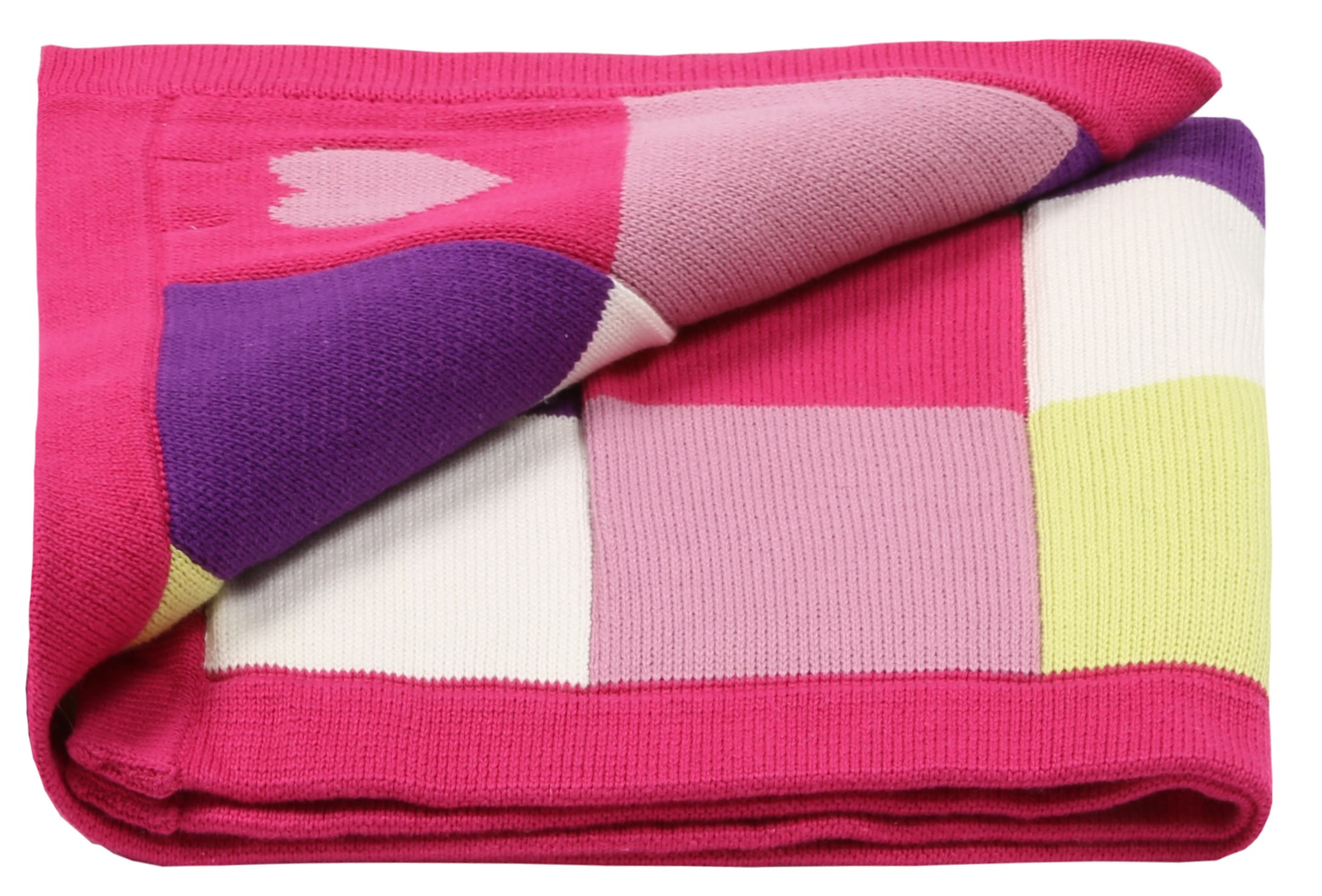 Baby Girls knitted blanket patchwork hearts ideal baby gift (incl. free card)