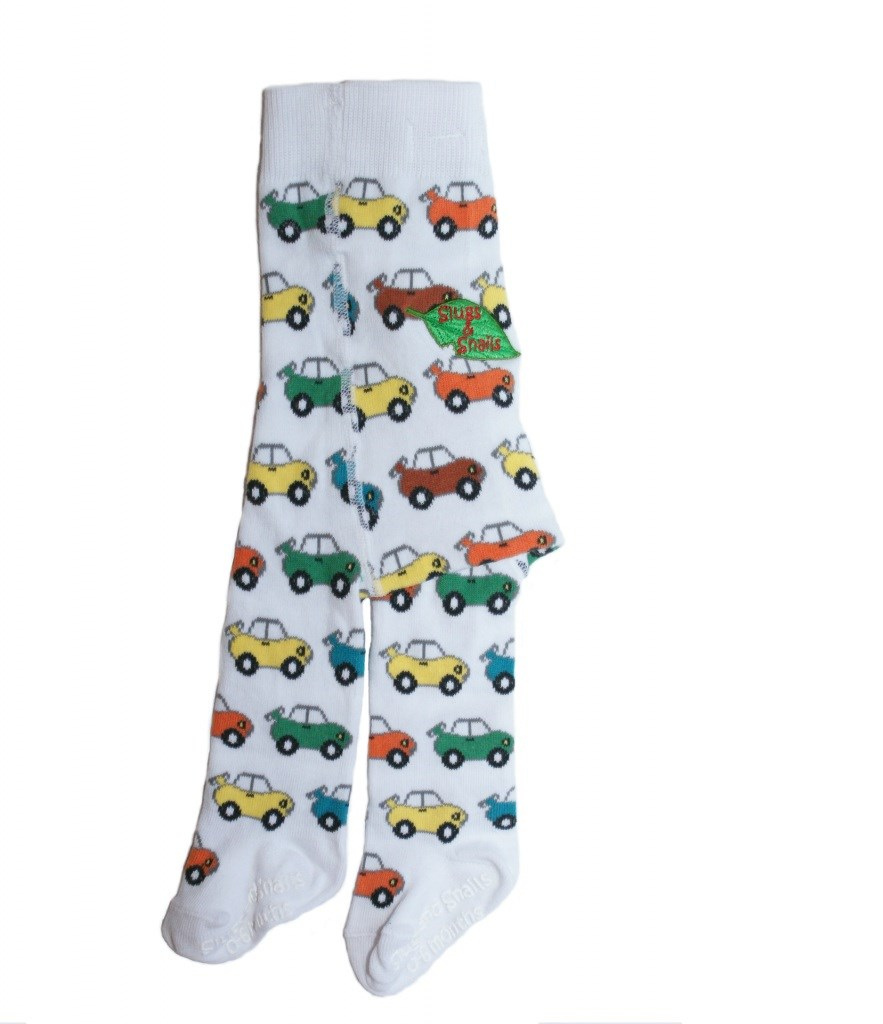 Rollin' Road Organic White Tights with Cute 1920's Wind-up Cars