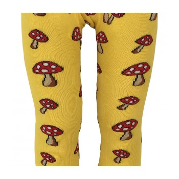 Fun Guy! Bright Yellow Organic Cotton Tights with Toadstools