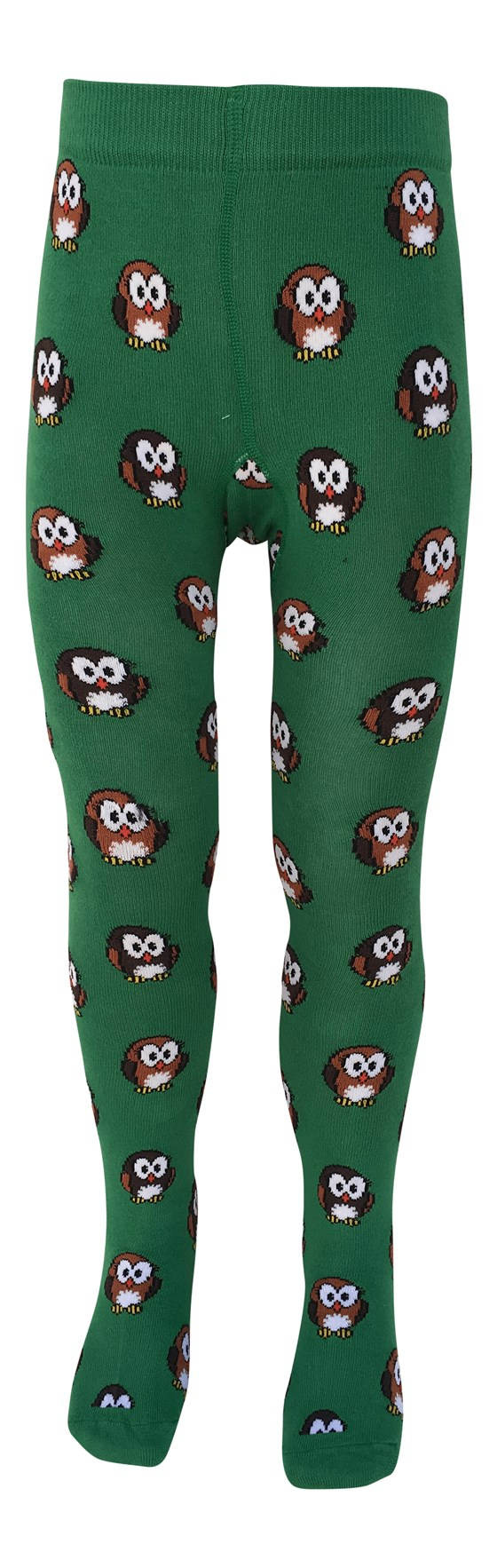 Hoot Forest Green Owl Organic Cotton Tights with Anti-slip Soles