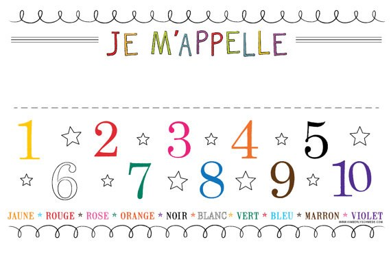 Number and Color Chart Placemat - Spanish, French or English
