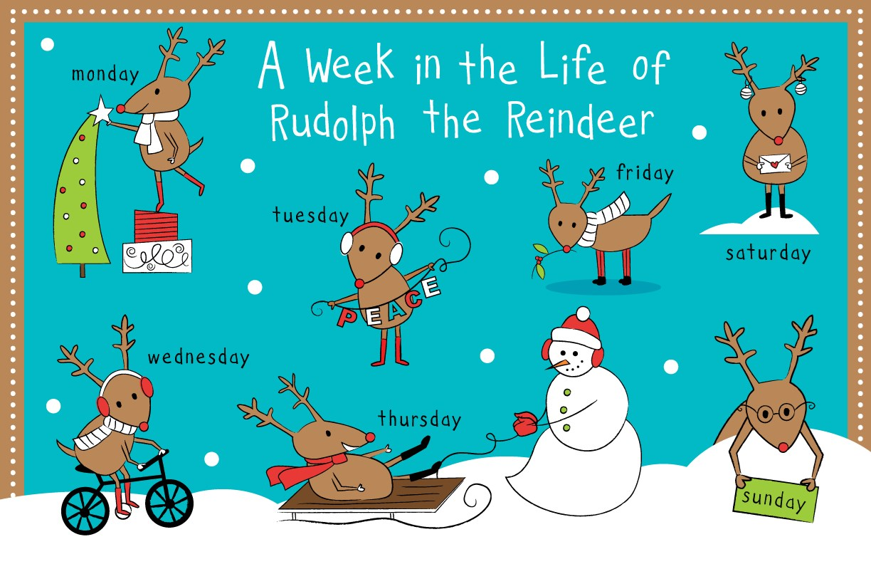 Rudolph Reindeer 7 DAY Personalized Kids Placemat - Spanish/French/English