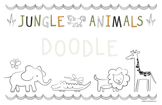 Kids Jungle Placemat in Spanish/French/English