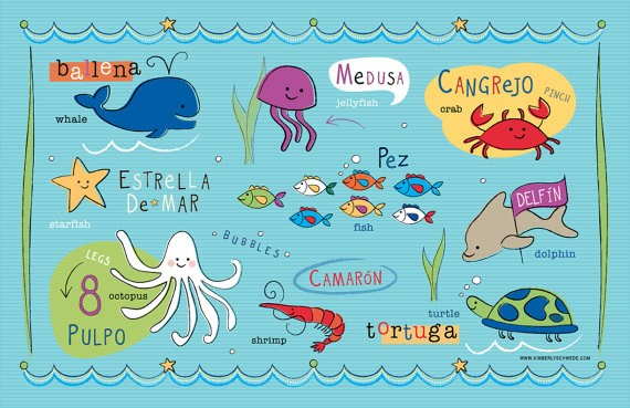 Kids Ocean Friends Placemat in Spanish/French/English