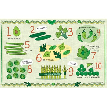 Kids Green Vegetable Number and Food Placemat in Spanish/French/English