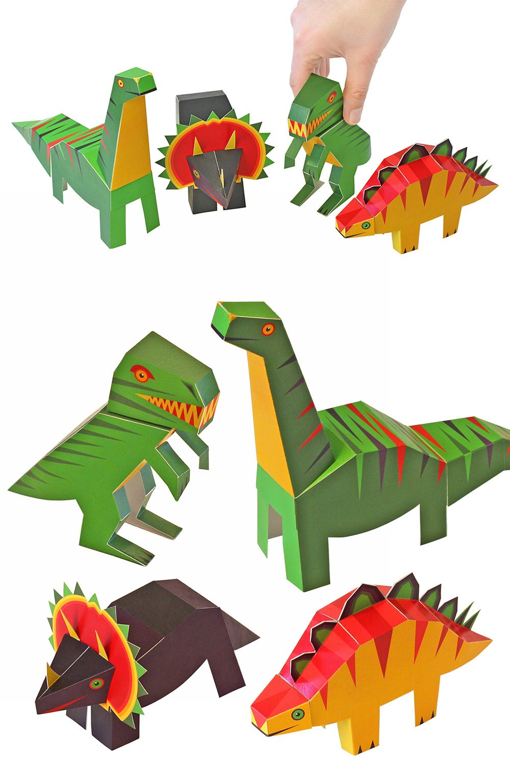 PUKACA Dinosaurs Paper Toys - DIY Paper Craft Kit - 3D Paper Animals - 4 Dinosaurs