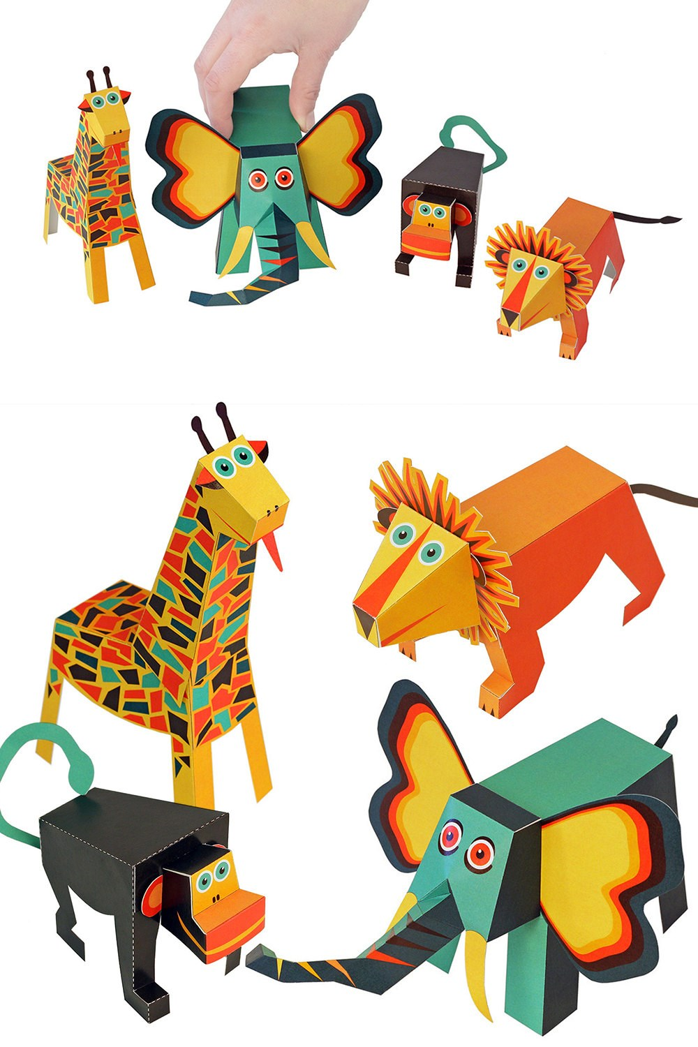 PUKACA Jungle Animals Paper Toys - DIY Paper Craft Kit - 3D Paper Animals - 4 Animals