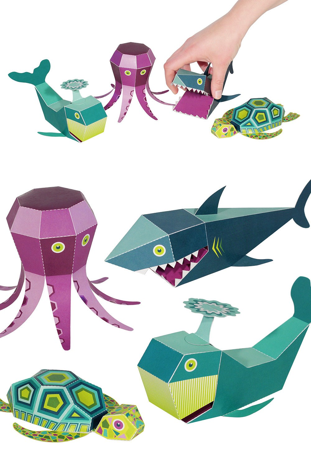 PUKACA Sea Animals Paper Toys - DIY Paper Craft Kit - 3D Paper Animals - 4 Sea Animals