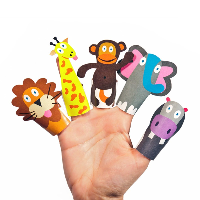 PUKACA Jungle Animals Paper Finger Puppets - DIY Paper Craft Kit