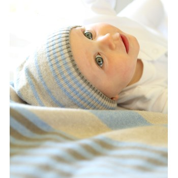 Blue Cashmerino Striped Baby Blanket & Hat Set