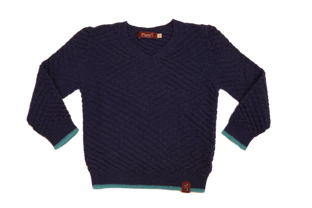 Basket Weave Royal Alpaca V-Neck Jumper