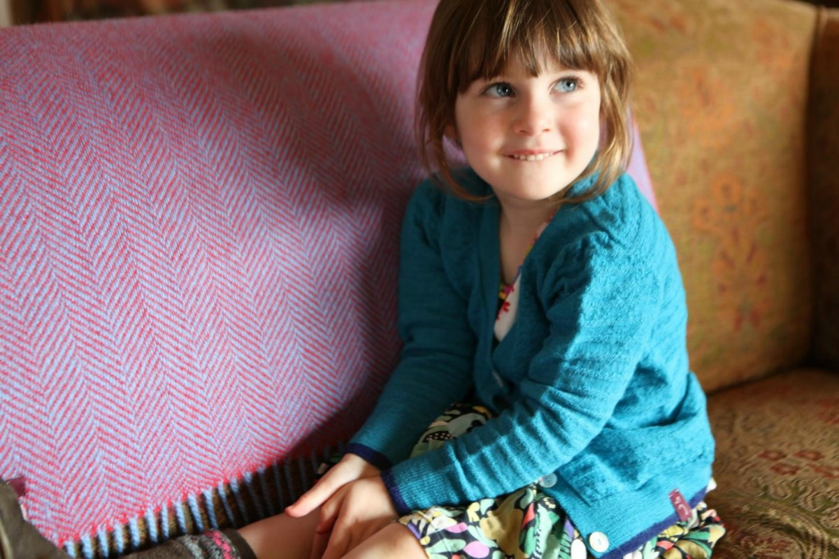Children's Welted Stitch Royal Alpaca Cardigan