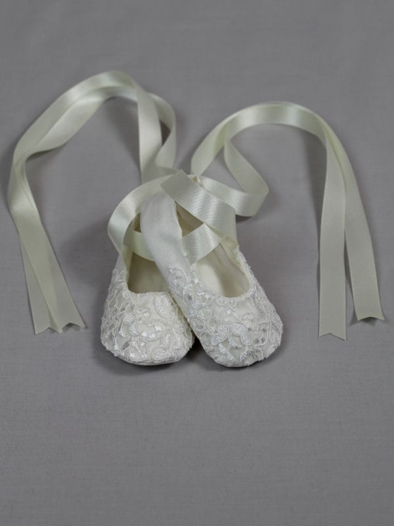 Michelle Ivory Silk Christening Booties