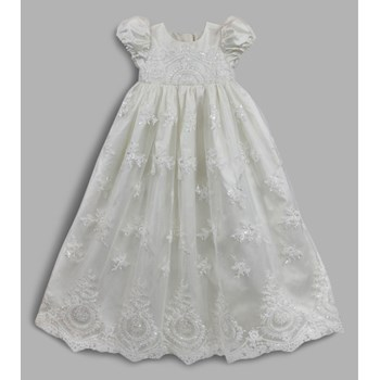 Cameo Ivory long silk Christening Gown