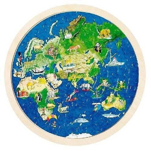 Double Sided Circular World Map Jigsaw Puzzle