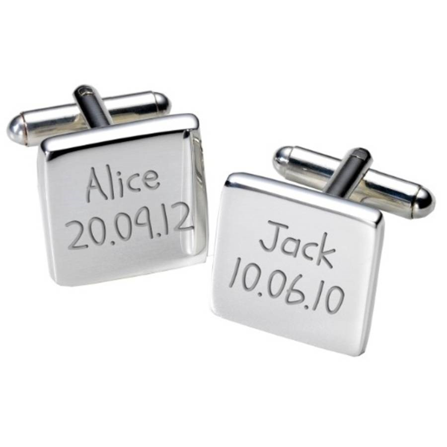 Personalised Childrens Birth Dates Cufflinks And Case