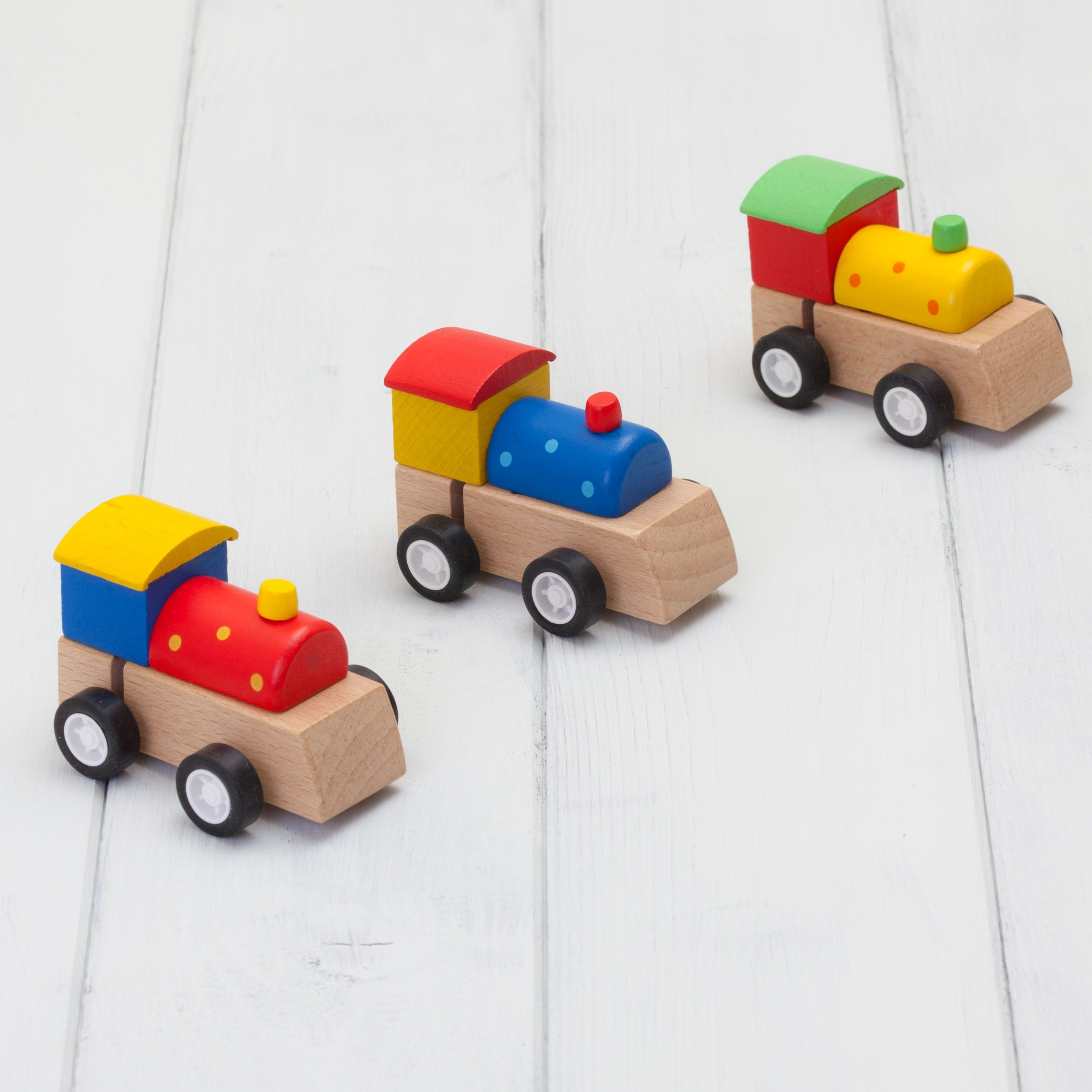 Set Of Three Wooden Train Wind Up Toys
