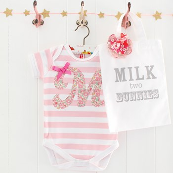 Personalised Letter Baby Bodysuit & Gift Bag