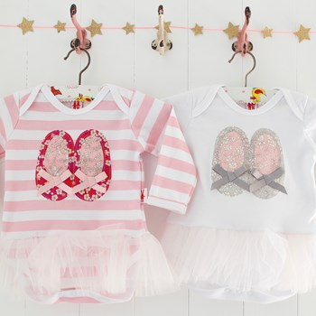 Applique Ballet Shoes Tutu Bodysuit