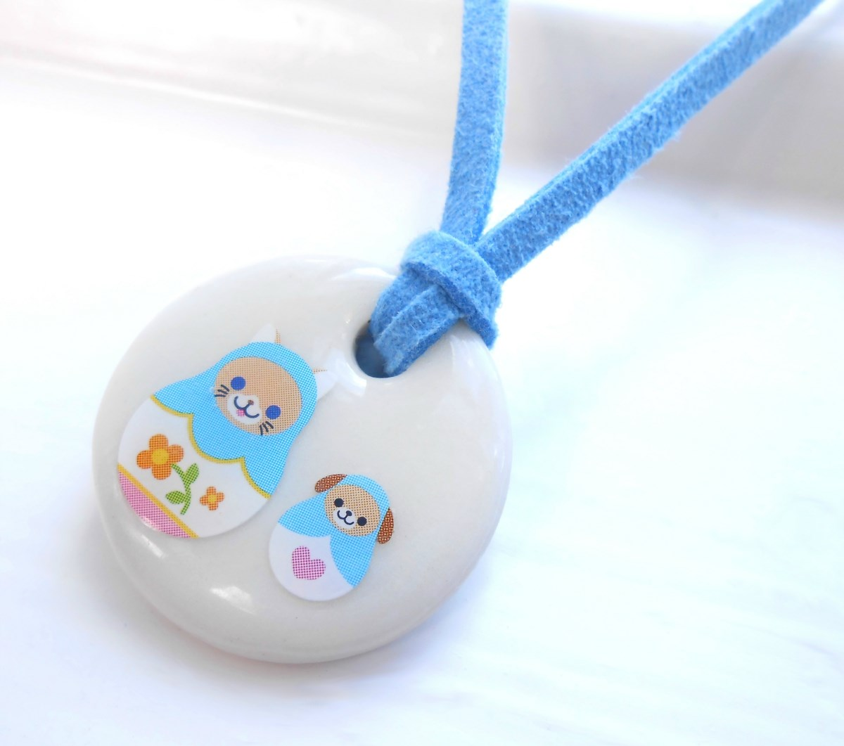 Cat and Dog Porcelain Girls Necklace