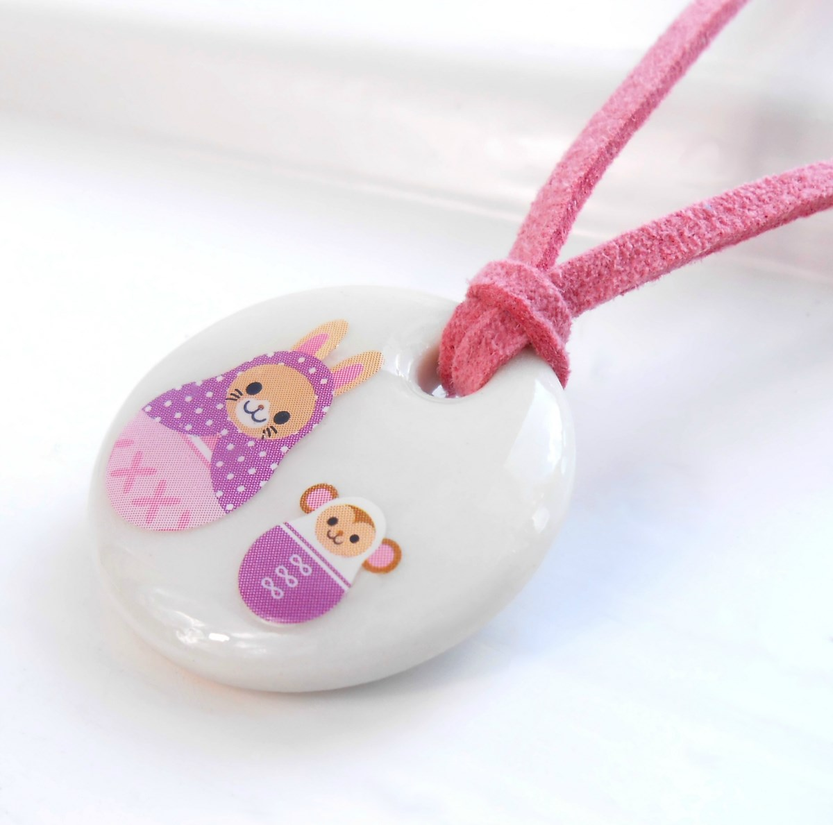 Cat and Monkey Porcelain Girls Necklace