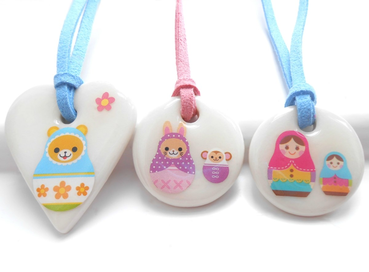 Russian Dolls, Matryoshka Porcelain Girls Necklace