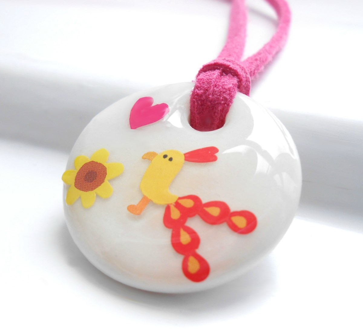Sun Flower Bird, Porcelain Girls Necklace