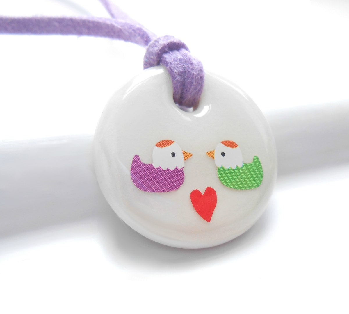 Love Birds, Porcelain Girls Necklace