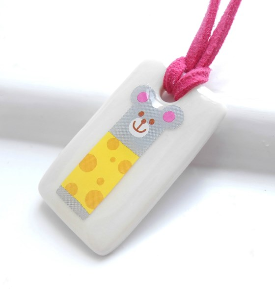 Mouse in a Yellow Jumper, Porcelain Girls Necklace