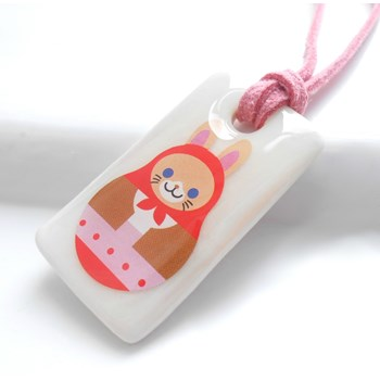Cat in Red,Porcelain Girls Necklace