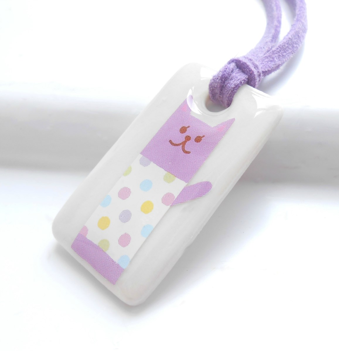 Spotty Cat, Porcelain Girls Necklace