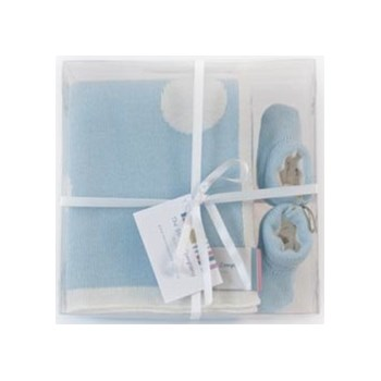 Polka Dot Blanket and Boots Gift Set