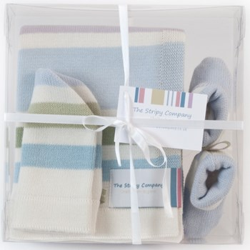 Stripy Cotton Blanket, Boots and Hat Gift Set
