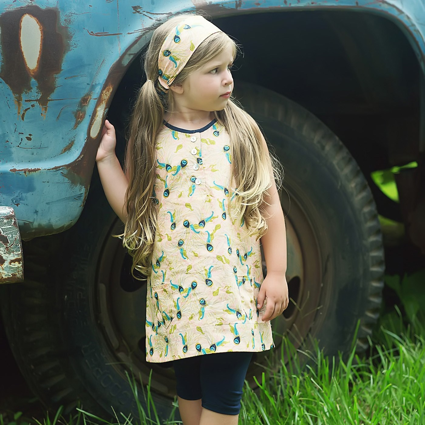 feather rose tunic dress
