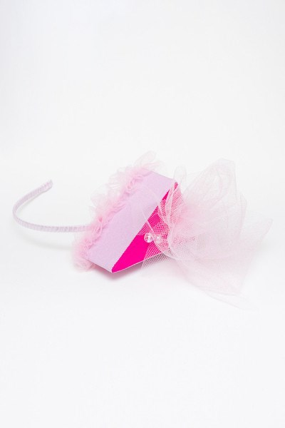 Sweet Pink Silk Cake Headband with Tulle and Pearls