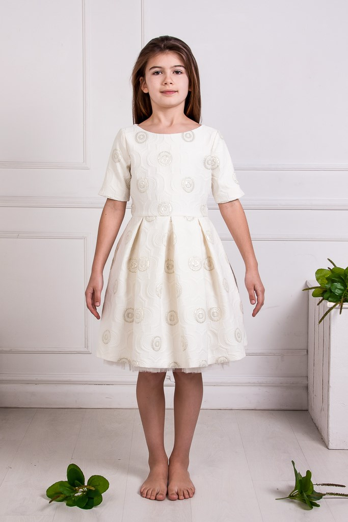 Milky White Jacquard Full Dress With Gold Thread Pattern