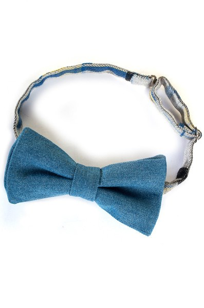 Blue Denim and Checkers Bow Tie