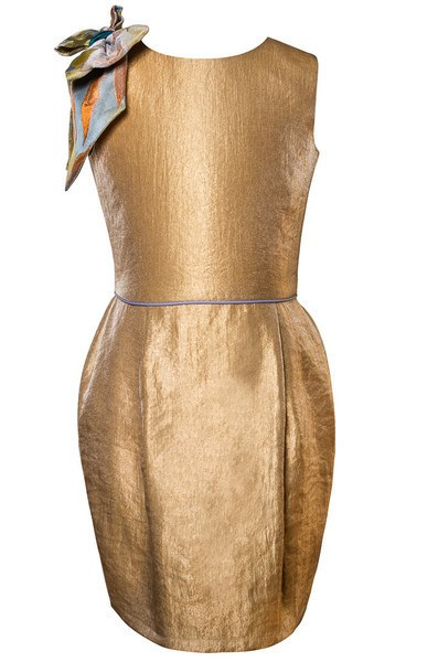 Golden Yellow Pencil Dress with Bow on One Shoulder